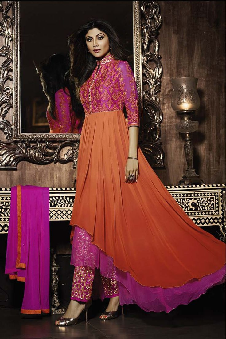 Bollywood Shilpa Shetty Georgette Semi Stitched Anarkali Suit In Orange and Pink Colour