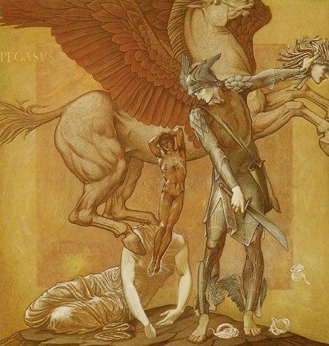 페가수스(Pegasus)  -보기만 하여도 돌이 되어 버린다는 괴물 메두사의 목을 영웅 페르세우스가 베어 죽였을 때 흘러나온 피에서 생겨났다고 한다. 여신(女神) 아테나가 이 천마를 예술의 여신 무사(Musa)들에게 주어, 그녀들이 헬리콘산에서 노래 시합을 벌일 때, 이 말이 대지를 걷어차자 그곳에서 샘이 솟아나와 히포크레네(말의 샘)가 생겼다. 또한 영웅 벨레로폰이 괴물 키마이라를 퇴치한다는 약속을 하였을 때 예언자의 권고로 페가소스를 찾아 자기의 말로 삼았다. 벨레로폰은 이 날개가 달린 말을 타고 공중을 날 수 있었으므로 무사히 키마이라를 퇴치할 수 있었다. 그 후 페가소스는 올림포스산으로 가 제우스의 마굿간에서 지내다가 죽은 후에는 하늘로 올라가 별자리 페가수스가 되었다.
