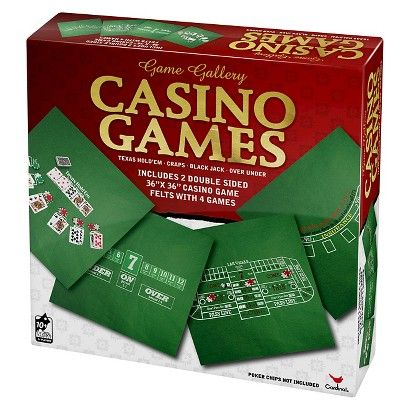 Game Gallery Casino Games with Two Double-Sided Felt Gameboards