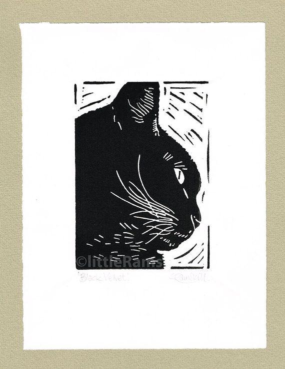 Black Cat Portrait - Linocut. Original hand pulled Relief Print on Etsy, $34.45
