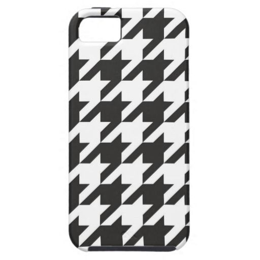 Houndstooth seamless grey, black and white pattern case for iPhone. Traditional Scottish plaid fabric fashion collection.