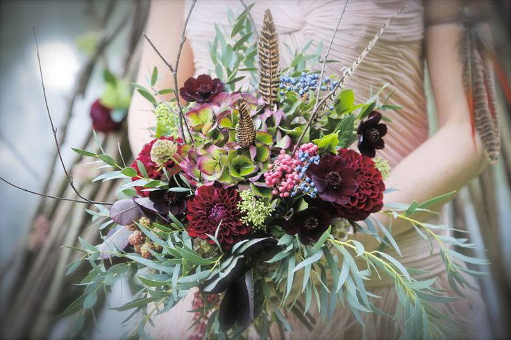 """Edgy and elegant bride's bouquet from Pink Peony. For more Alternative Wedding inspiration, check out the No Ordinary Wedding article """"20 Quirky Alternatives to the Traditional Wedding""""  http://www.noordinarywedding.com/inspiration/20-quirky-alternatives-traditional-wedding-part-2"""