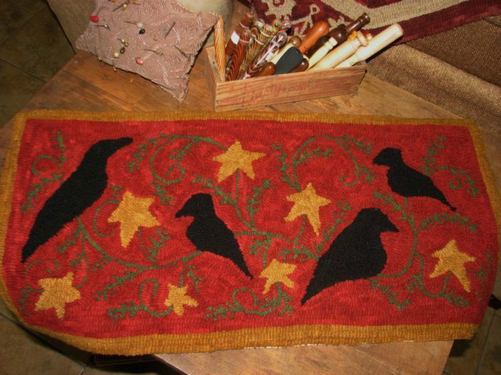 "PRIMITIVE HOOKED RUG PATTERN ON MONKS ""CHRISTMAS CROWS""  in Crafts, Needlecrafts & Yarn, Rug Making, Primitive Hand Hooking, Primitive Hooking Patterns 