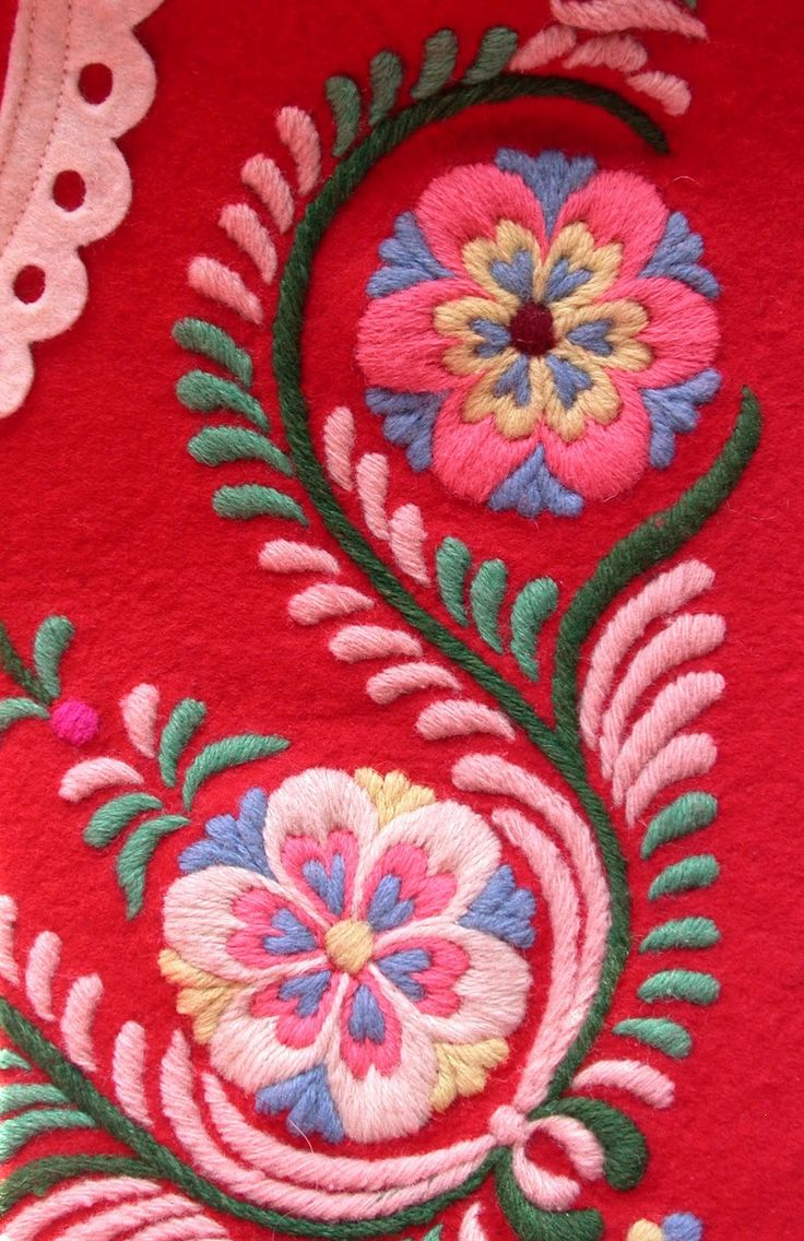 Hungarian wool embroidery on felted wool