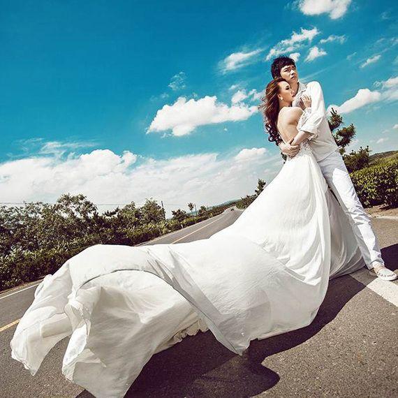 위치 패션 사진 커플 사진 섹시한 옷을 후행 2017 새로운 스튜디오 테마 의류 웨딩 드레스