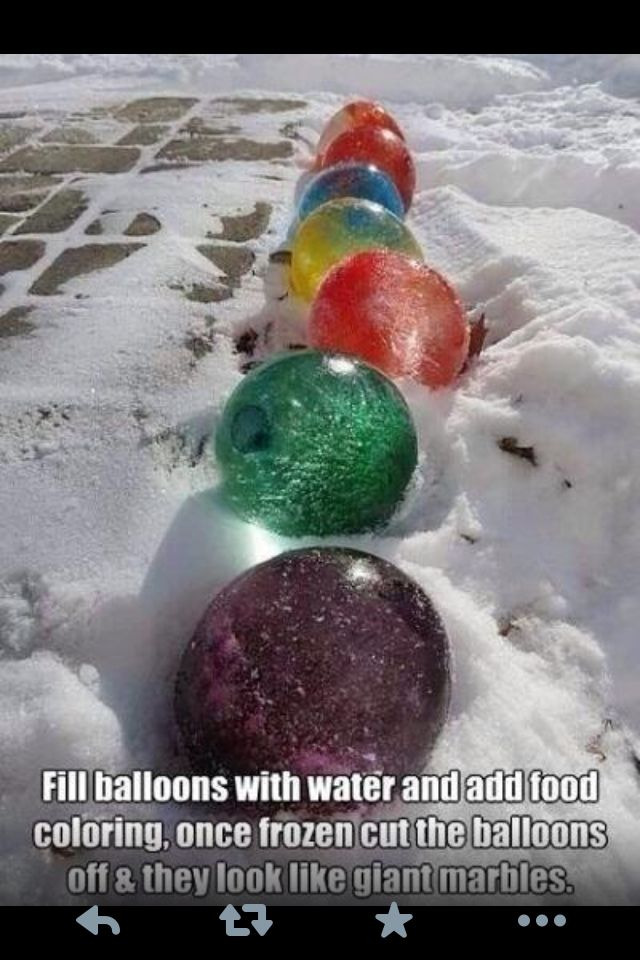 Colorful snow marbles.