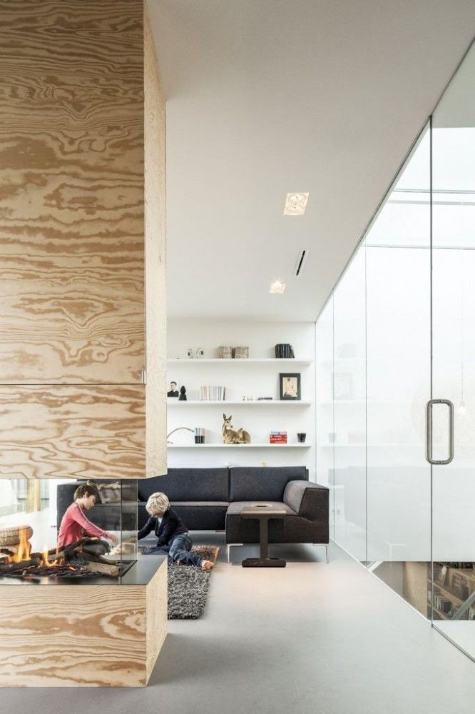 Not sure about the plywood fireplace but like everything else. Villa V / Paul de Ruiter Architects