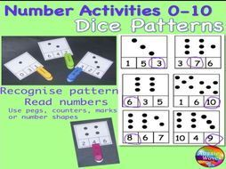 Early Maths Centre Activity COUNTING NUMBERS 0-10 DICE PATTERNS - Teaching Resources - TES