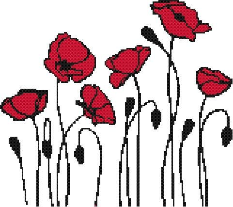 Abstract Poppies - a Counted Cross Stitch Pattern. $9.00, via Etsy.