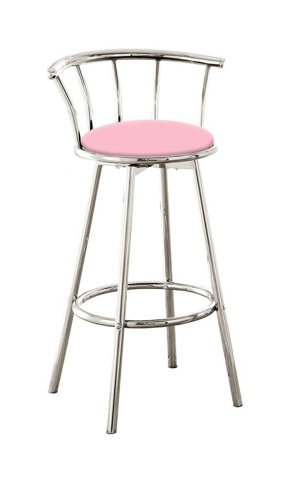 The Furniture Cove New 24 Tall Counter Height Chrome Metal Finish Swivel Seat Bar Stools With Baby Pink Vinyl Bar Stools Tall Bar Stools Bar Stools With Backs