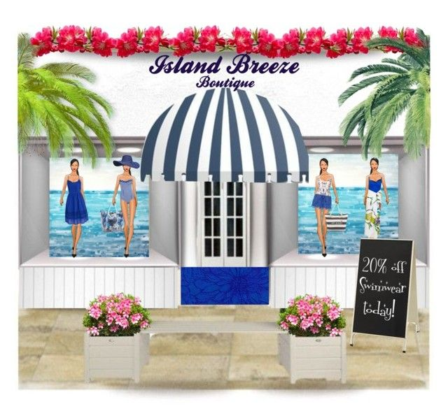 """Island Breeze Boutique (store front)"" by citkat777 ❤ liked on Polyvore featuring art, summerfashion, store, boutique and fashionstore"