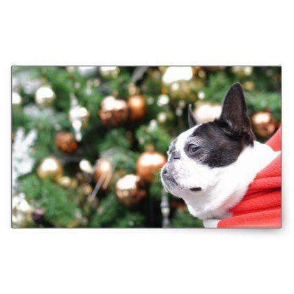 Boston Terrier Pug Dog Christmas Rectangular Sticker - christmas craft supplies cyo merry xmas santa claus family holidays