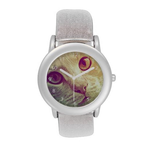 A beautiful close-up cat portrait, especially for cat lovers! Love and Devotion / Kid's Glitter Wrist Watch. Choose between pink, red and silver glitter strap! #fomadesign