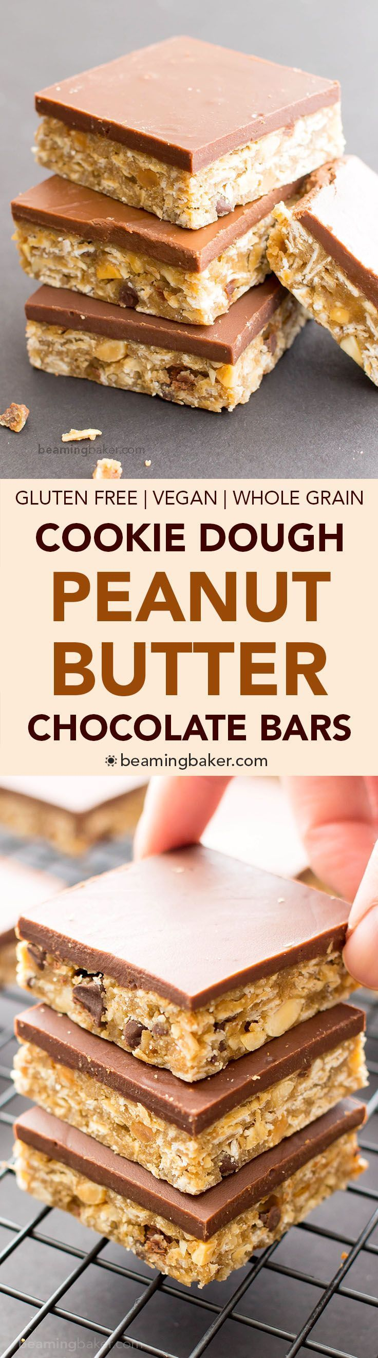 No Bake Chocolate Peanut Butter Oatmeal Cookie Dough Bars (V, GF, DF): an easy recipe for decadent peanut butter cookie dough bars topped with a thick layer of chocolate and bursting with oats.