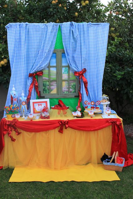 Love all this...the gingham curtains, the window with the view of the Emerald City, all of it!