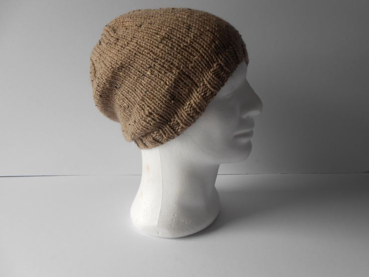 Men's Knit Hat. Men's slouchy Beanie Hat, Men's knit wool Hat, knitted toque, Guy's knit hat. Beanie cap. watch mans cap, Irish knit hat by AluraCrafts on Etsy