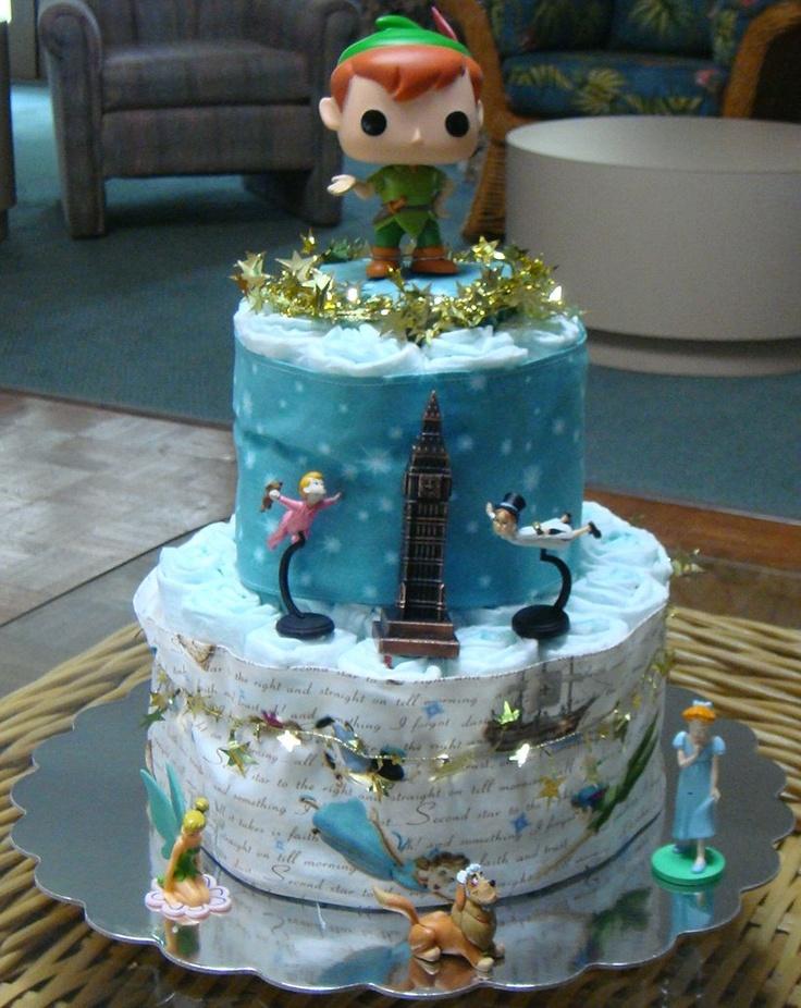 Peter Pan Diaper Cake Peter Pan Baby Shower Pinterest