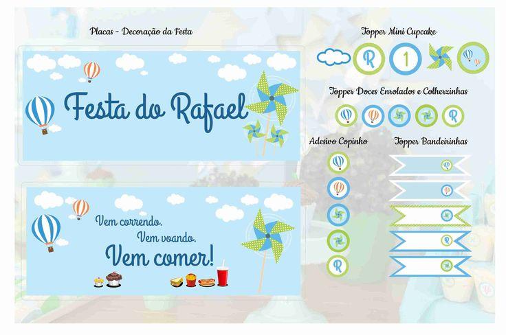 Placas Decorativas - Tema Cataventos e Balões Bandeirinhas, Toppers e Tags - Tema Cataventos e Balões