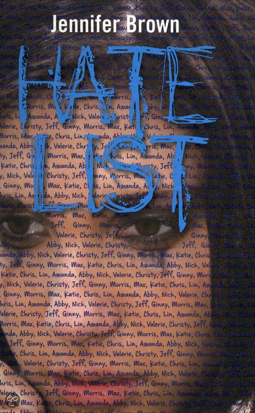 Jennifer Brown - Hate list | Callenbach 2012, 367 pagina's | kerntitel Jonge Jury 2014 | Valerie is gewond geraakt bij een schietpartij op school. Haar vriend Nick heeft onverwacht iedereen neergeschoten die op hun geheime 'hate list' stond.  | http://www.bol.com/nl/p/hate-list/9200000002271628/