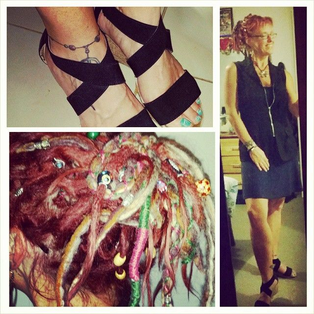#fashionfun Today's work attire.  A simple Navy dress with a vest over the top.  Black #wedgeshoes, with an #upsyle messy #dreadbun. #hippieatheart #hippiefitness #hippiefashion #bohemianfashion #dreadlocks #dreadmama #dreadlockupstyles