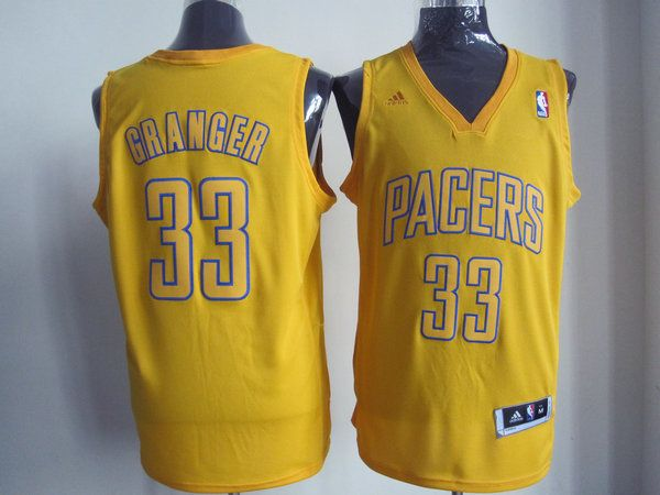 Adidas NBA Indina Pacers 33 Danny Granger Fashion Swingman Christmas Day Yellow Jersey