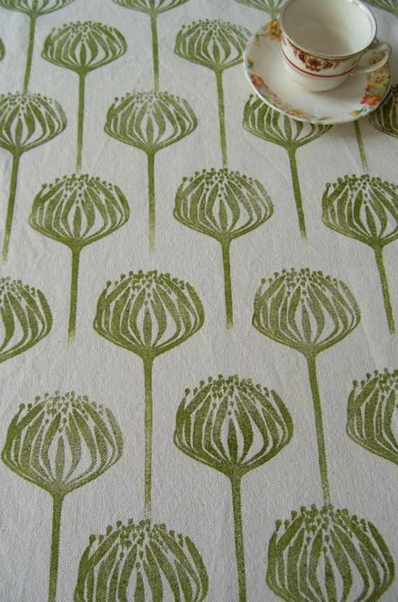 Blockprinted Fabric - Proteas good idea for block in half drop