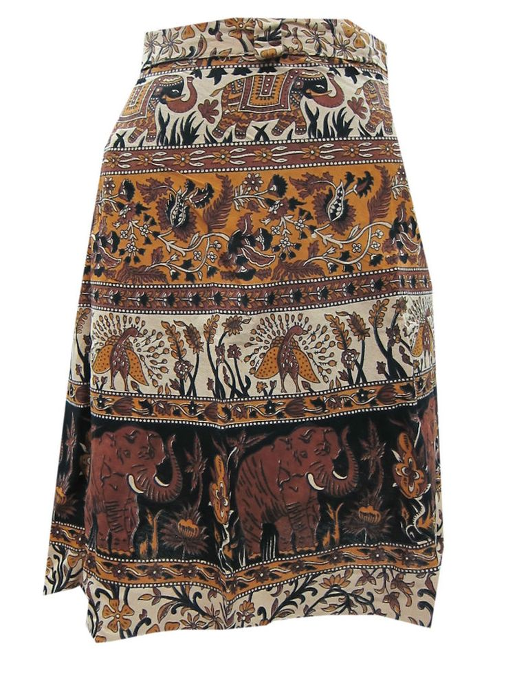 Ladies Wraparound Skirt Boho Gypsy Floral Printed Casual Mini Wrap Skirt