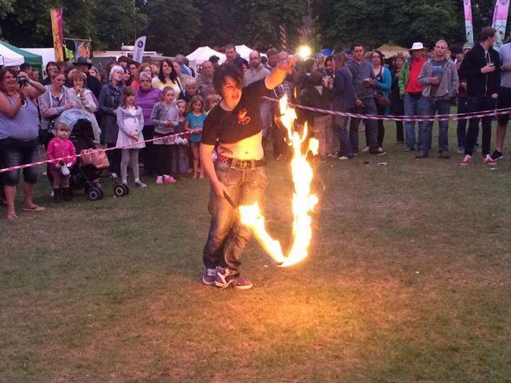 Fire whip at Haselmere Fringe Festival