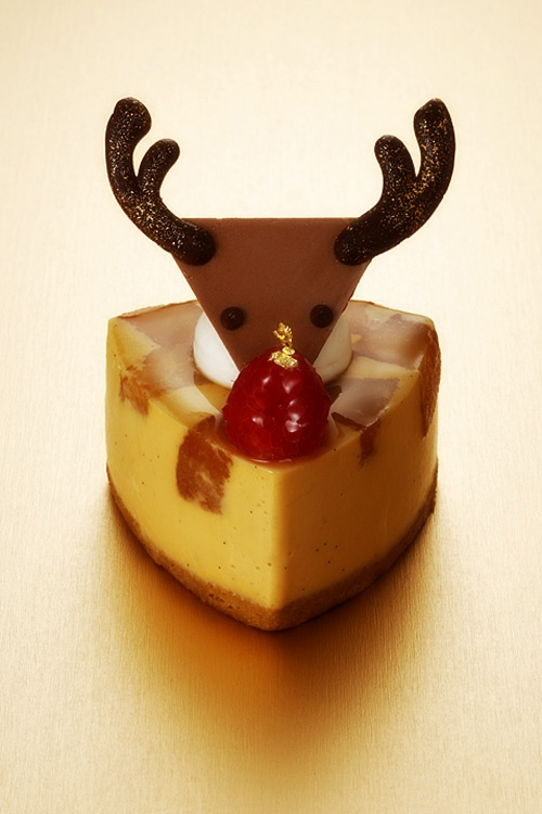 Japanese-Style Caramel Custard Pudding Rudolph Cake for Christmas|赤鼻のトナカイ