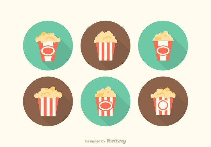 Free popcorn box vector icons in flat design.