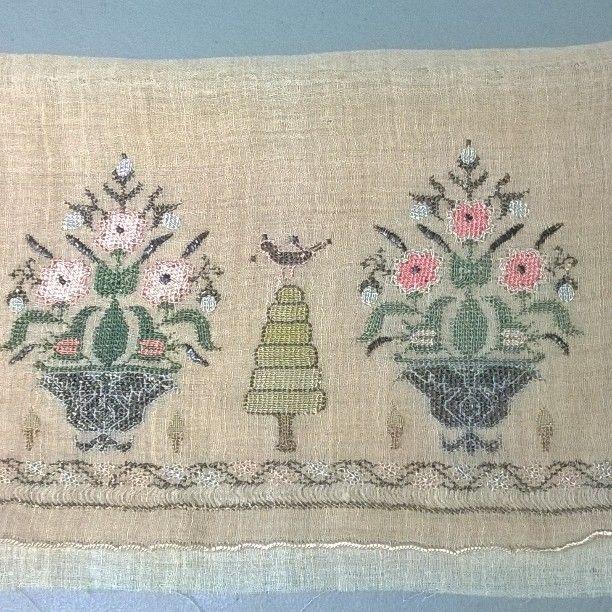 "28 Likes, 1 Comments - Antique Textiles Galleries (@antiquetextilesgalleries) on Instagram: ""19th century Turkish embroidery textile panel silk, metallic threads on linen. #antique  #textiles…"""