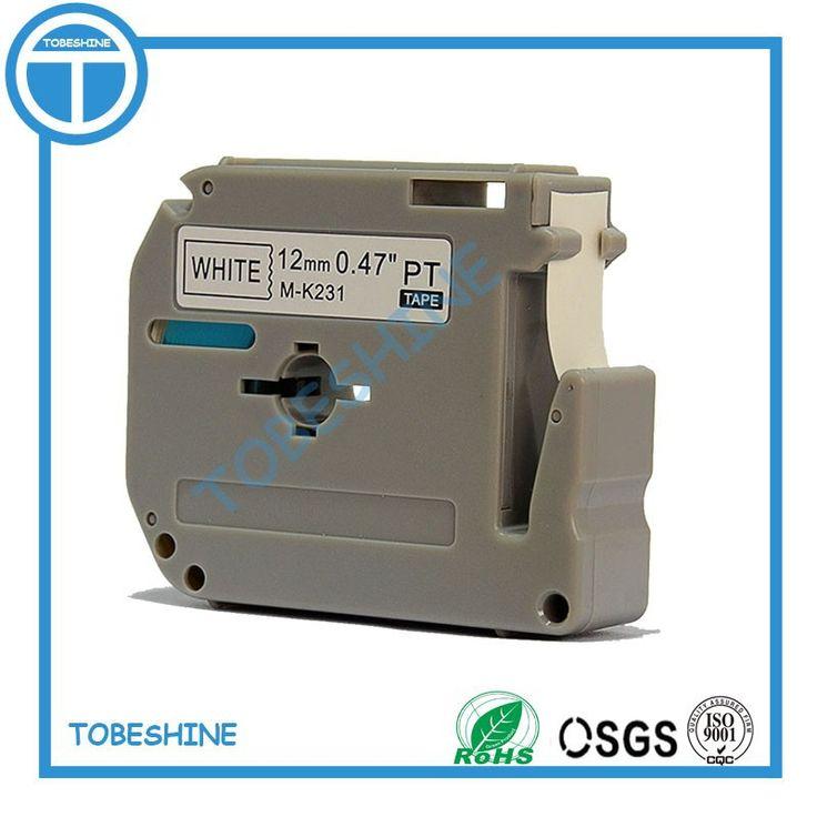 Free shipping 5pcs 1/2'' 12mm*8m Black on White Label Tape Compatible p-touch M-K231 MK231 M231 Printer