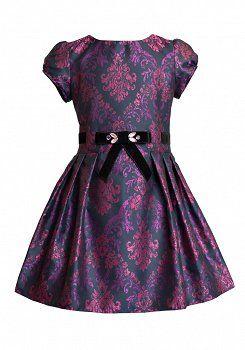 SUKIENKA WIZYTOWA WE WZORY, SLY - sukienki dla dziewczynek
