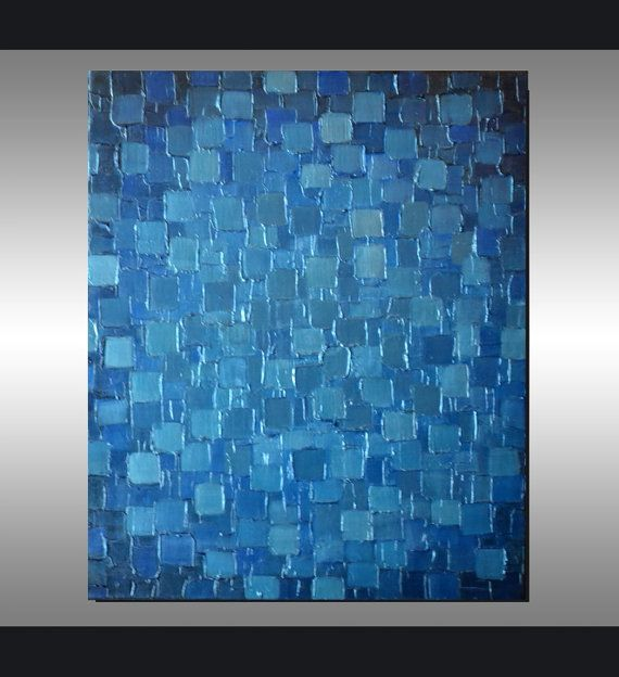Original Modern Metallic Blue Painting 24x20 Palette by ZarasShop, $215.00