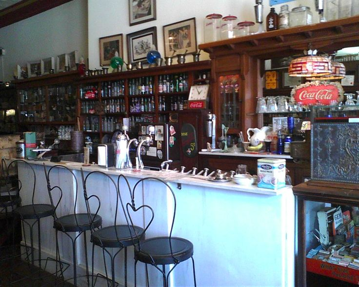 72 best photos of old drug stores images on pinterest for Old fashioned pharmacy soda fountain