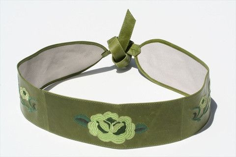 embroided belt - chartruse