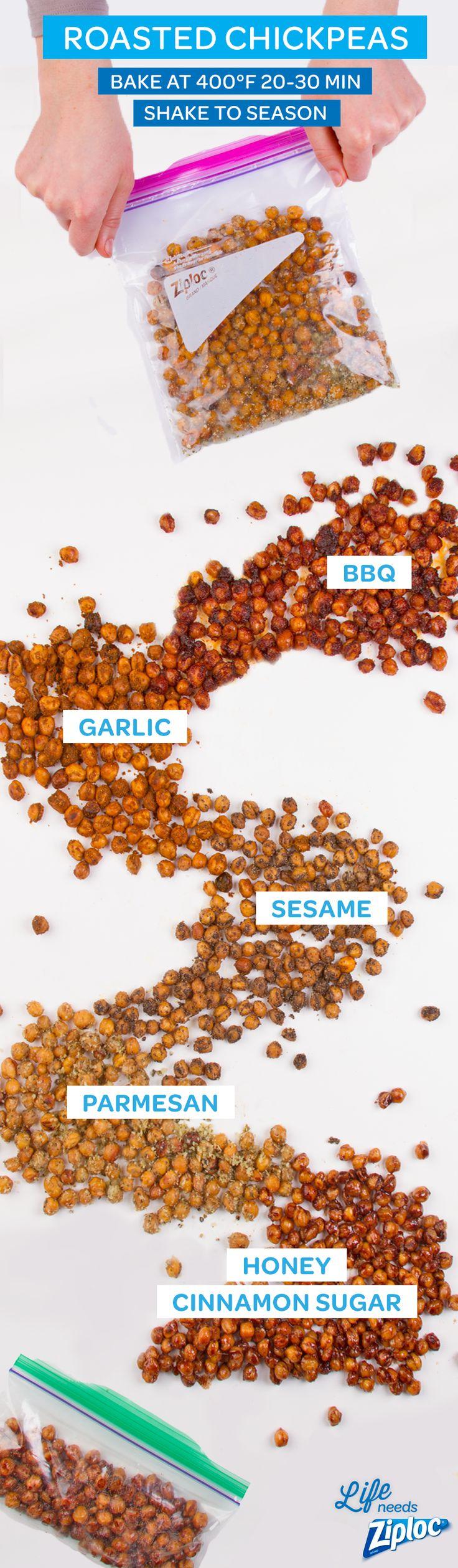 Easy roasted chickpeas are a healthy, crunchy, protein-filled snack. Pack it to go in a Ziploc® snack bag. Recipes: BBQ: 1 tsp paprika, ½ tsp ground cayenne, ½ tsp garlic salt, ½ tsp onion powder, 2 tbsp brown sugar. Garlic: 1 tsp garlic salt, ½ tsp paprika. Sesame: ½ tsp vegetable oil, ¼ tsp garlic powder, 2 tsp soy sauce, 1 tbsp sesame seeds. Parmesan: ¼ c parmesan cheese, 1 tbsp olive oil, ¼ tsp oregano, ½ tsp black pepper. Honey Cinnamon: 2 tbsp honey, 1 tbsp brown sugar, ½ tsp cinnamon.