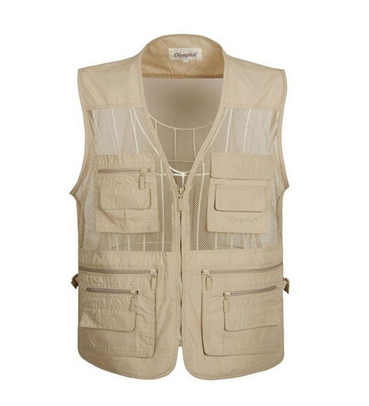 Summer Outdoor Mesh Fishing Photographer Vest For Men BEIGE, 4XL