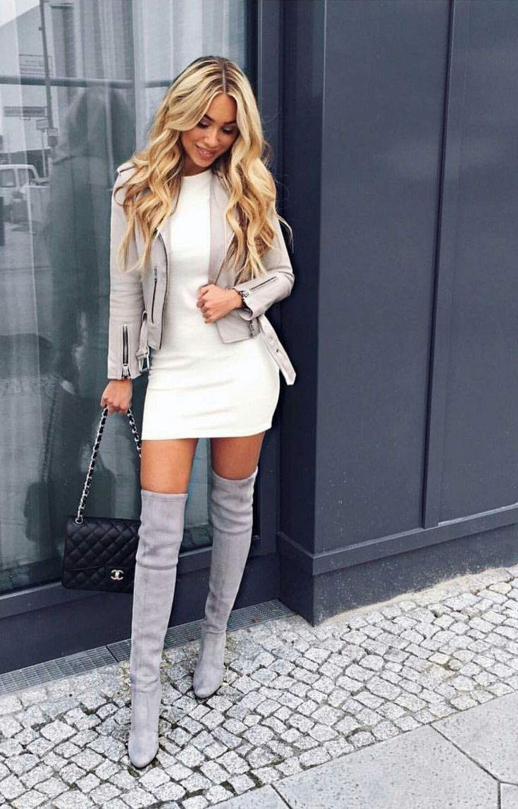 Over knee boots, sweater dress, blazer