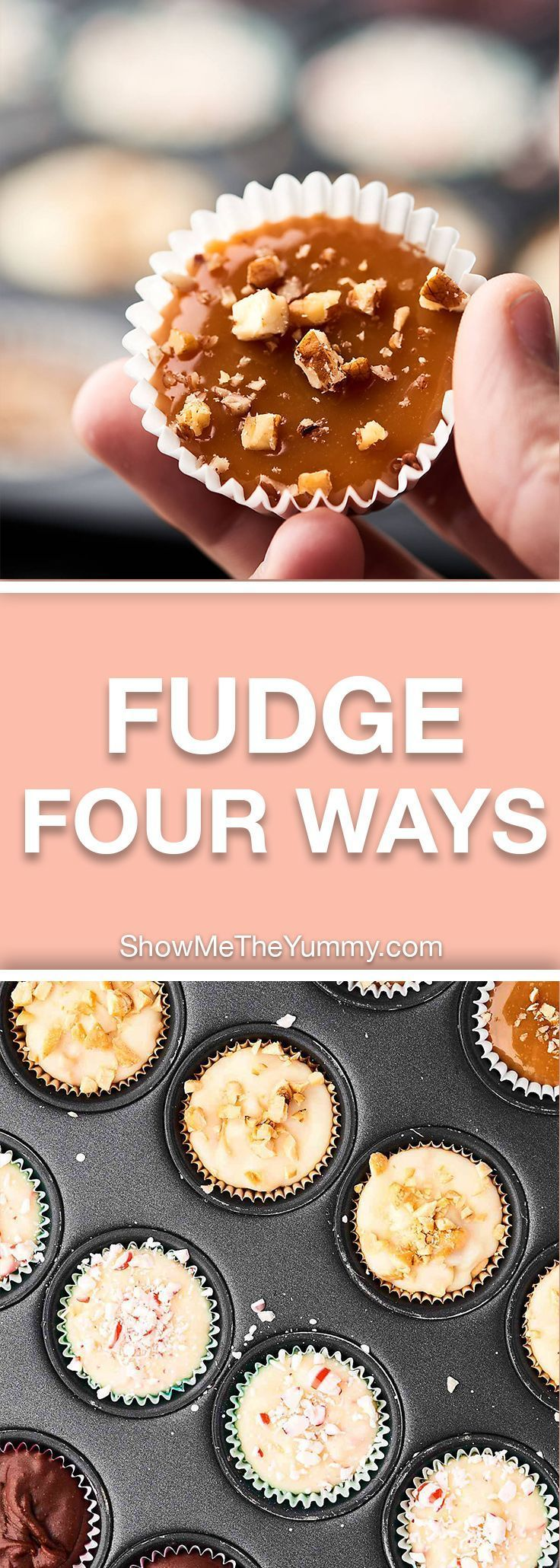 This Easy Microwave Fudge Recipe can be made into FOUR different flavors: peppermint, chocolate, turtle, and maple! Made in a mini muffin tin to make the perfect bite sized treats. showmetheyummy.com #fudge #christmas
