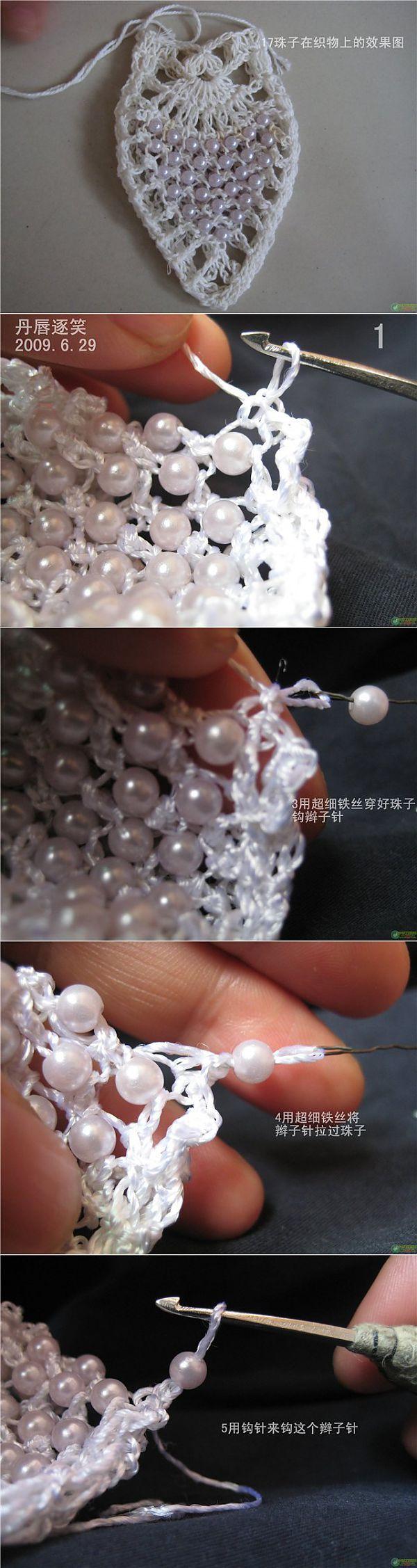 El proceso de tejer con cuentas, lentejuelas.