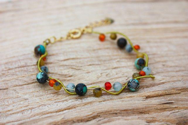 Turquoise, Agate, Jasper, Italian Glass Beads and Silk Twist Bracelet £18.00