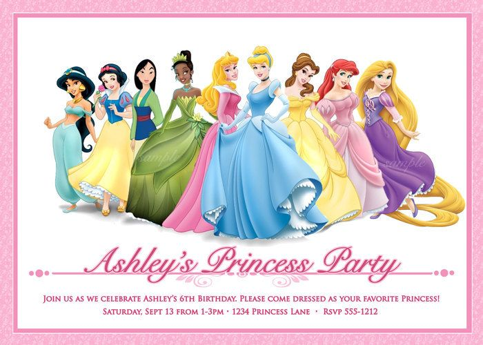 disney princess birthday party invitations free printables Baskan