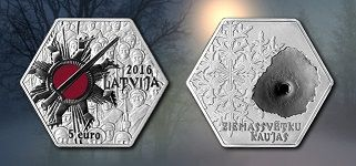 The 5 euro silver collector coin (shape regular hexagon) is a dedication to the Latvian riflemen, heroes of the Christmas Battles raged from 5 to 11 January 1917 (from 23 to 29 December 1916, old style), and their eternal contribution to the future.   Face value: 5 euro Weight: 28.00 g  Shape: regular hexagon; length of longer diagonal: 38.61 mm Metal: silver of fineness .925 Quality: proof  Maximum mintage: 5 000 Struck in 2016 UAB Lietuvos monetų kalykla (Lithuania)
