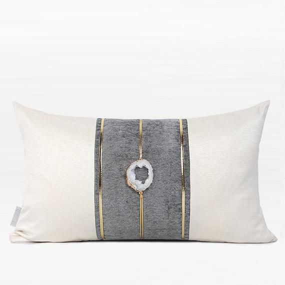 Product Decorative Pillow Dimensions 12 X 20 Pillow Cover Cream White Gray Gold 100 Polyester Handmade Text Crystal Centerpieces Decorative Pillows Pillows
