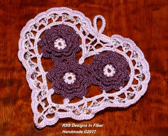 Lavender Purple Irish Crochet Heart Beaded with Plum Purple 3D Roses and Beaded with Crystal Iris Beads - by @rssdesignsfiber - RSS Designs In Fiber on Etsy
