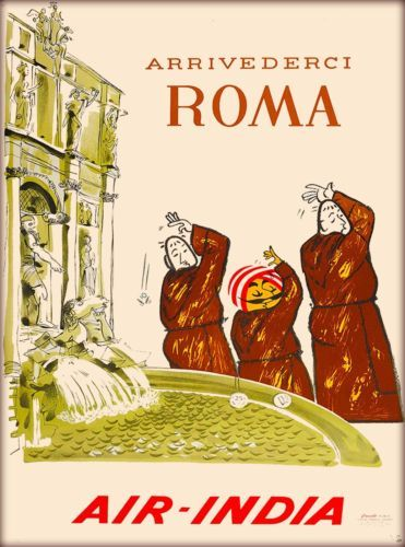 Arrivederci-Roma-Rome-Italy-Air-India-Vintage-Travel-Advertisement-Art-Poster
