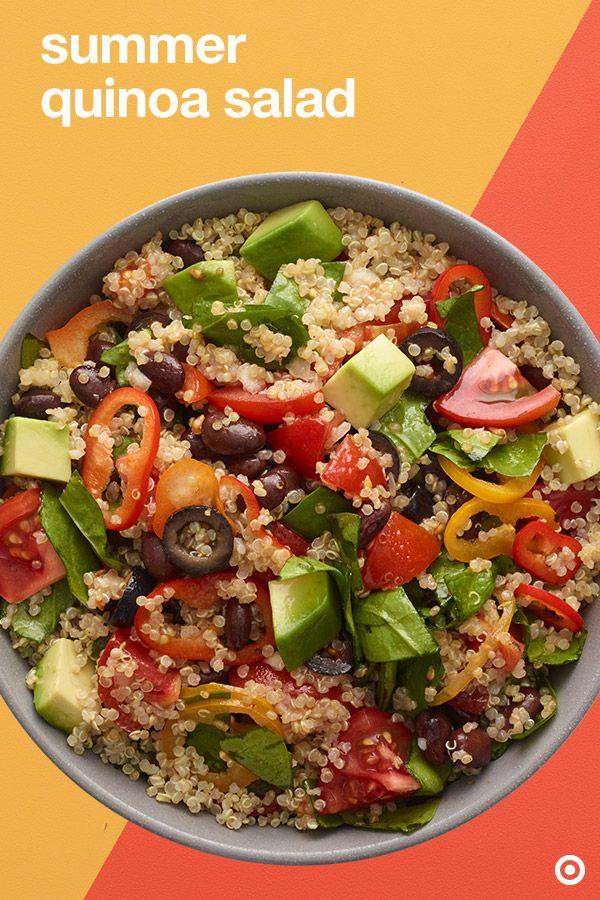 The Summer Quinoa Salad: Fast, fresh and a tasty dish on the table. Loaded with assorted veggies and tossed with lime juice and olive oil, it packs a summer punch. Dig into this delicious summer salad at lunch, or even as a side idea for grillouts.