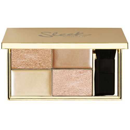 Sleek Cleopatras Kiss Highlighting palette - all-new golden highlighting palette; Cleopatra's Kiss. Packaged in a splendid gold compact with a mirror and a mini powder brush, this super-flexible palette includes two baked powders and two sumptous cream formulas which can be used all over the face and body.