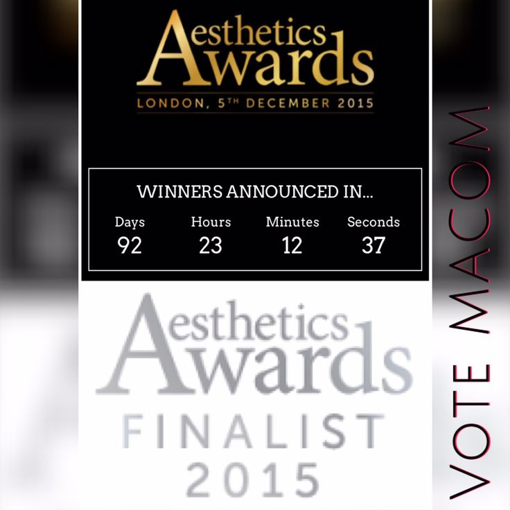 We are incredibly proud and honoured to have been shortlisted as finalist in this year's Aesthetics Awards 2015! Nomination is for MACOM Crystal Smooth, cellulite busting leg wear.  You can VOTE for MACOM Crystal Smooth as Best Treatment Partner on the Aesthetics Awards website. Just follow this link: https://www.aestheticsawards.com/voting/category/23